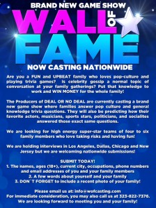 Wall of Fame casting Call