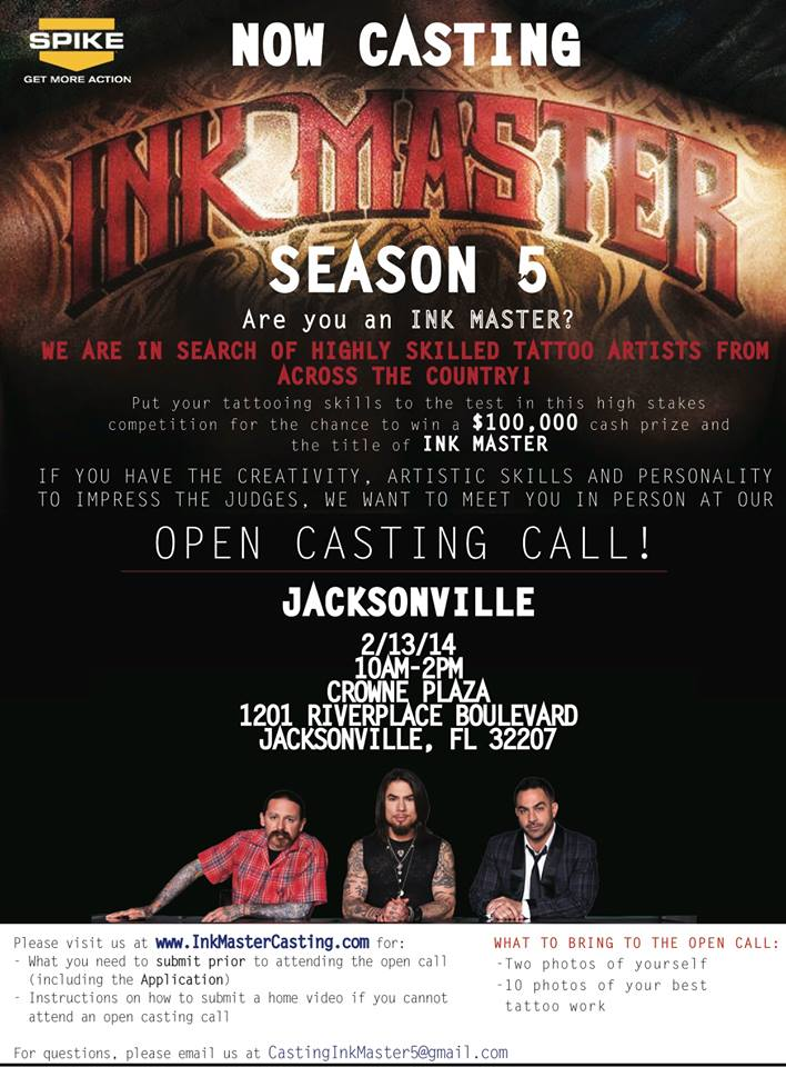 Spike Ink Master Casting Call Flyer