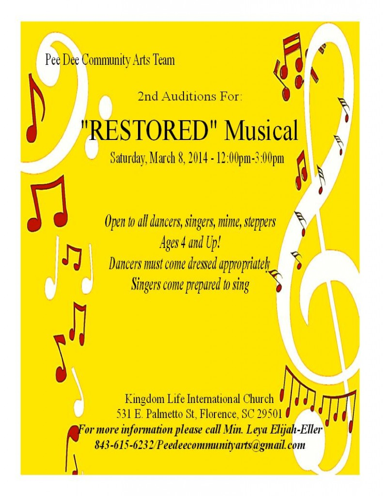 "casting kids for ""Restored"" the musical in SC"