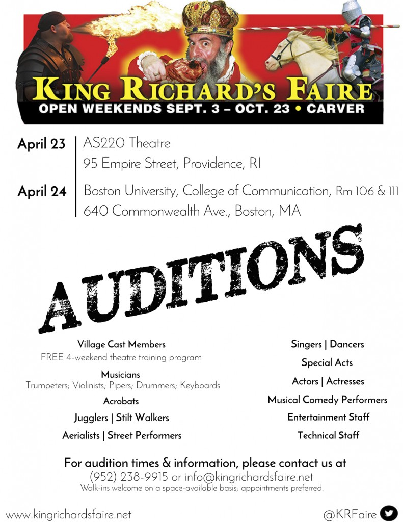 Auditions in Boston and Rhode Island for King Richard's Faire