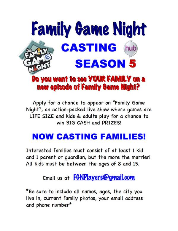 Casting Call Flyer For Family Game Night