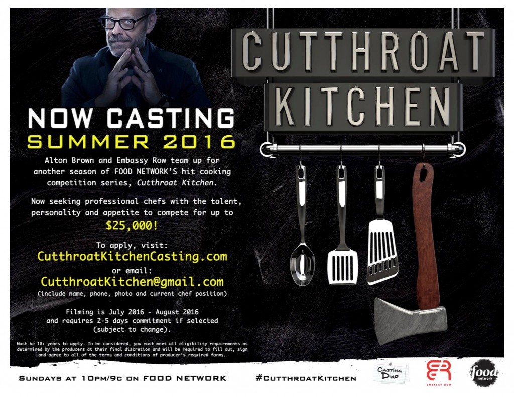 """casting call for Food Network """"Cutthroat Kitchen"""""""