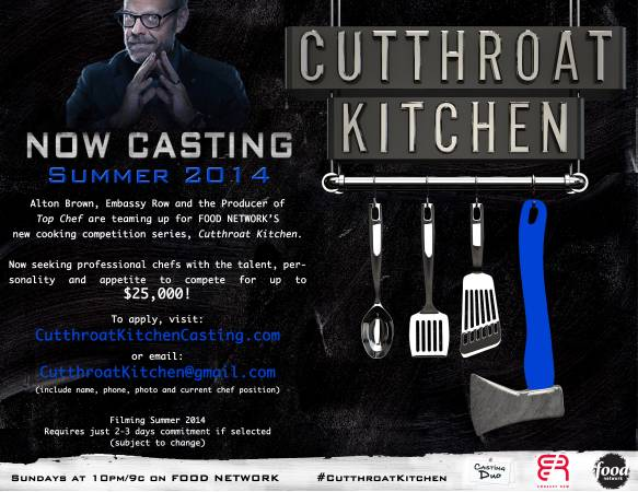 casting call for chefs on Food networks cutthroat kitchen season 6