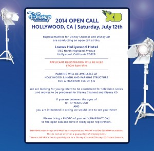 Disney Open Casting call 2014