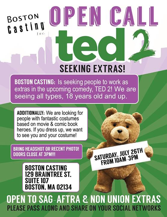 Ted 2 open casting call announced in Boston