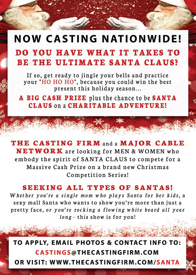 Casting flyer for Xmas reality competition