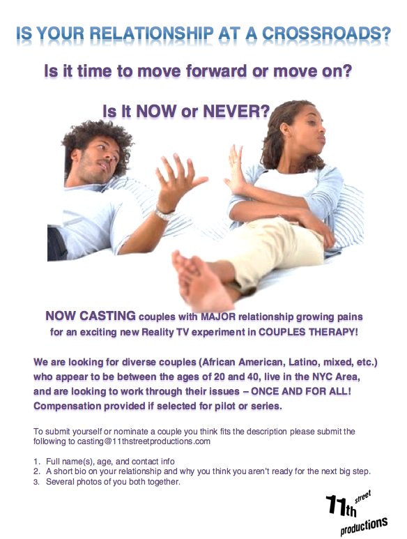 casting call flyer for new couples therapy series