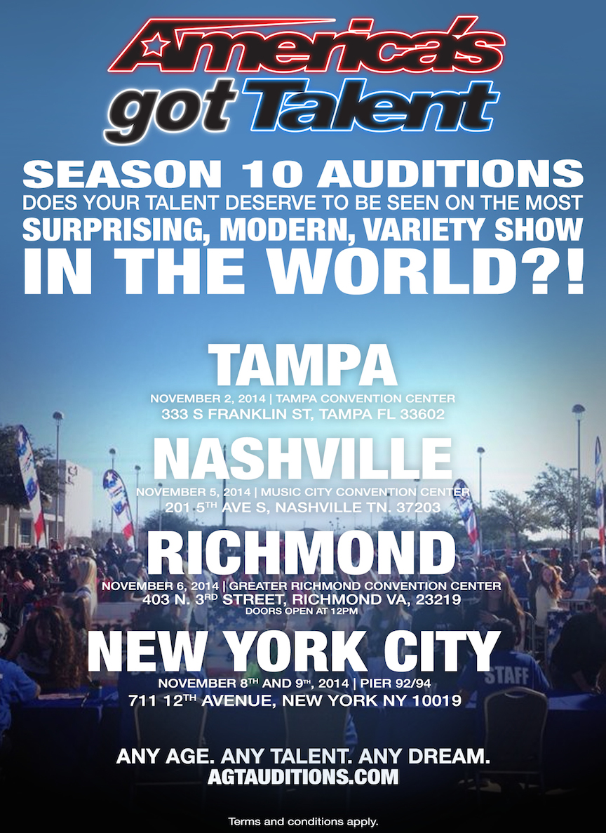 AGT auditions / try outs 2015 flyer
