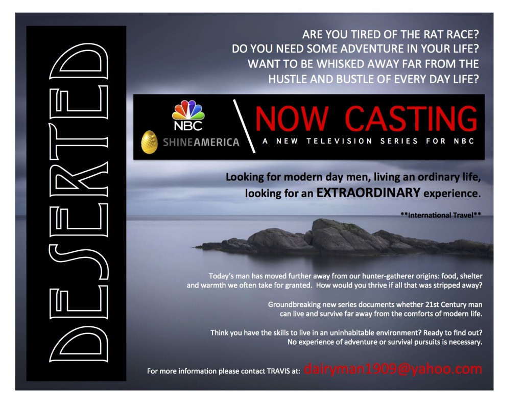 """NBC """"Deserted"""" casting call going on"""