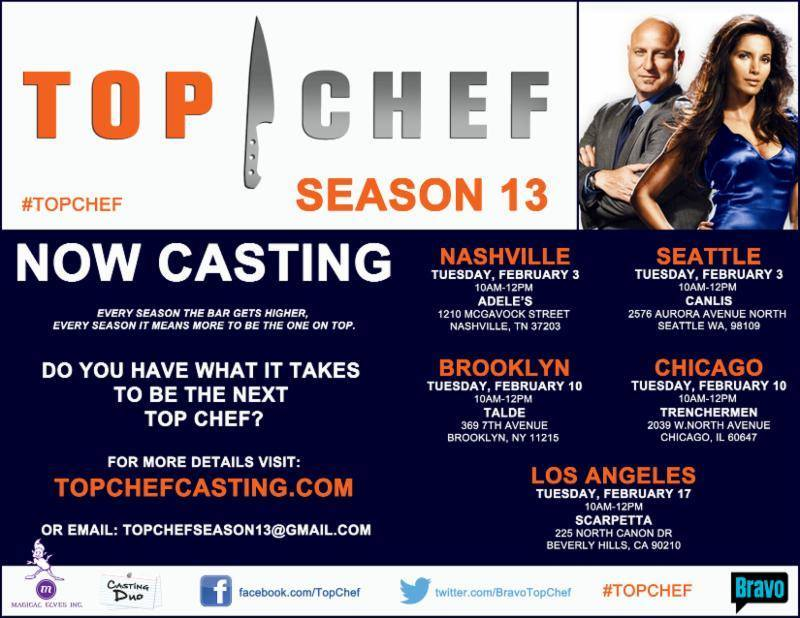 Top Chef 2015 Season Casting Flyer