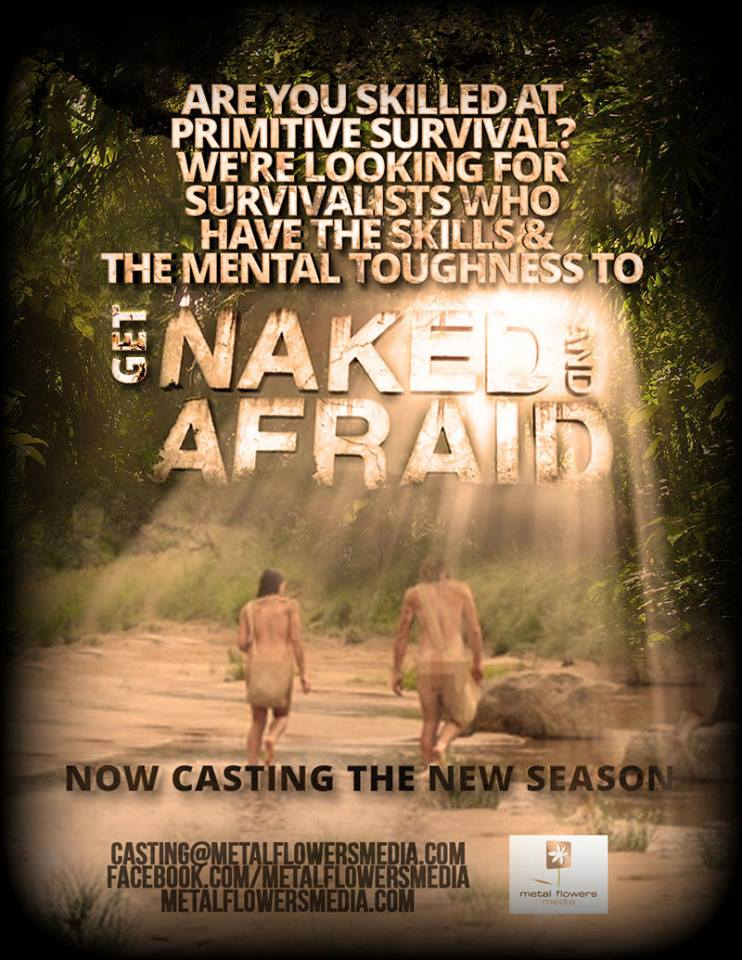 "Casting call flyer for Discovery's ""Naked and Afraid"""
