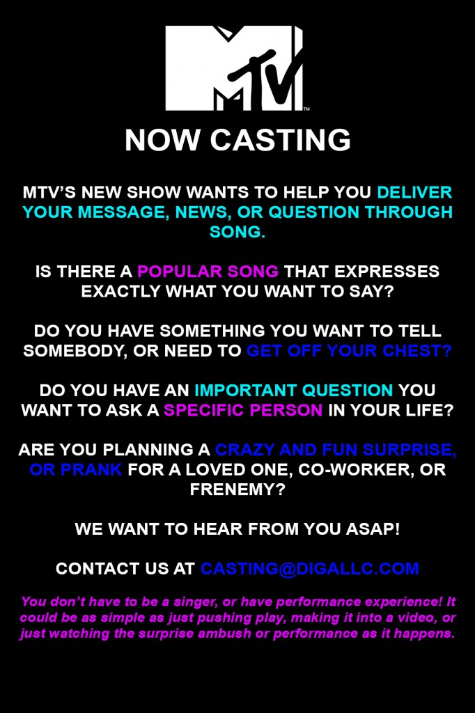 mtv u0026 39 s new show   u0026quot say it in a song u0026quot  casting people who want to surprise someone