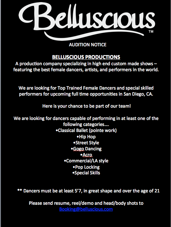 Casting call sheet - dancers wanted in San Diego