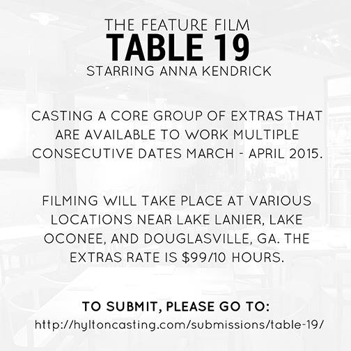 "casting Call for Anna Kendrick Movie ""Table 19"""