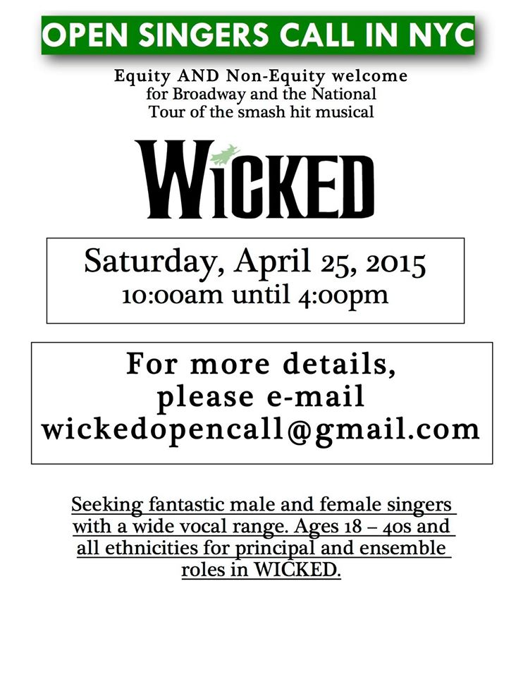 "open auditions for ""Wicked"""