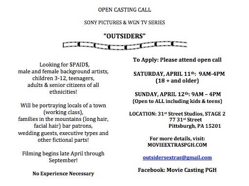 open casting call in PA for kids, teens and adults