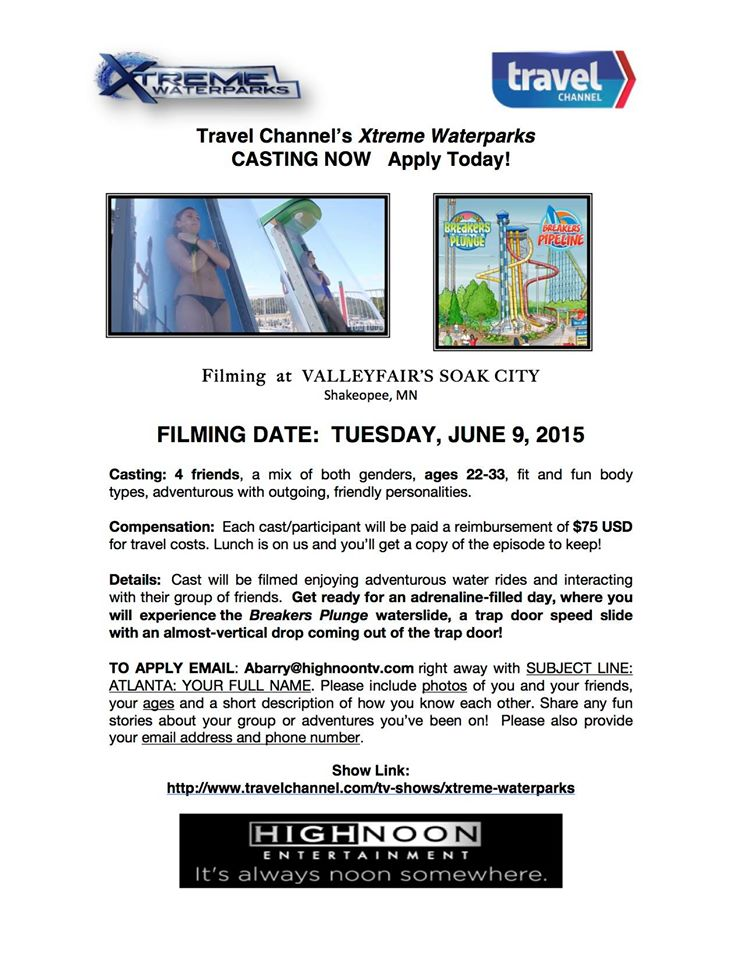 casting call for Xtreme Waterparks on Travel Channel
