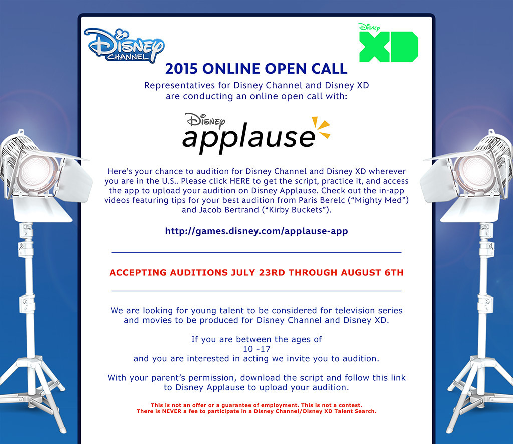 Disney Channel & Disney XD Online Open Casting Call | Auditions Free
