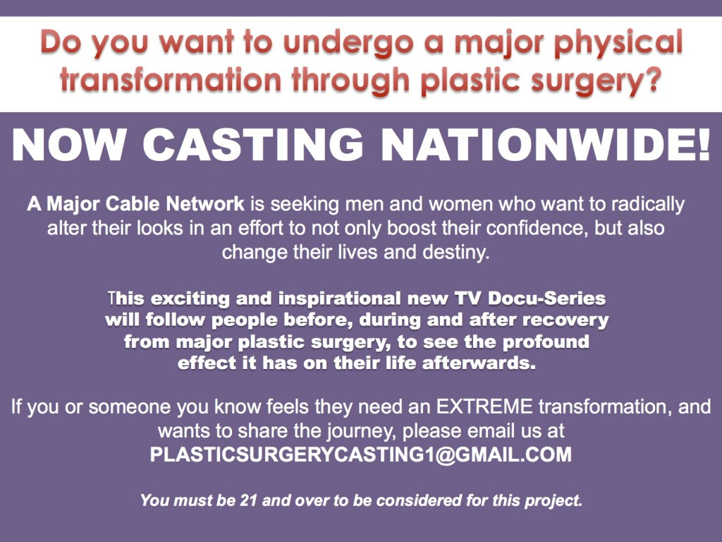 casting call for new plastic surgery show