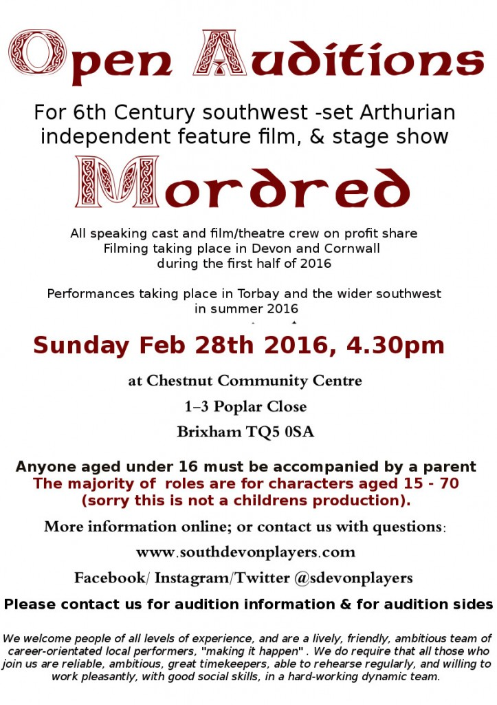 Mordred Devon England UK theater auditions