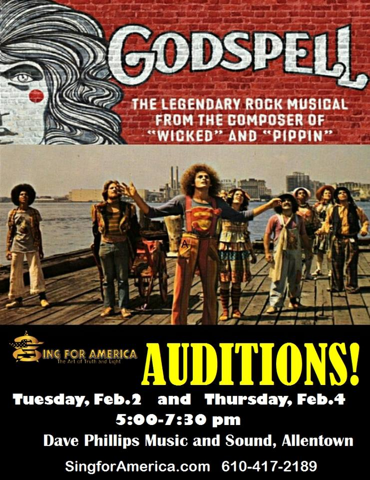 Godspell audition flyer