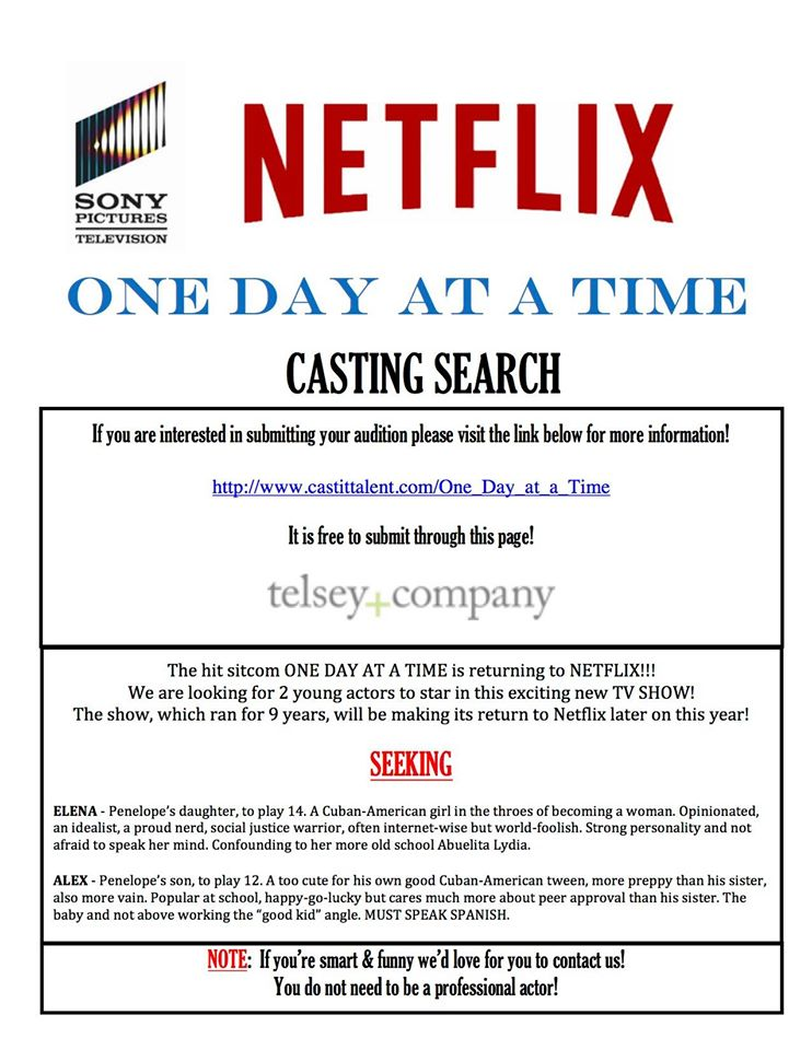Netflix One Day at a Time Casting Flyer