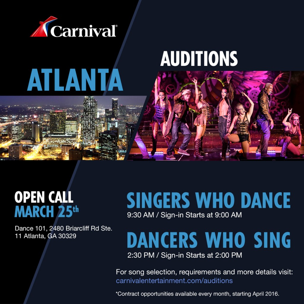 Singer and dancer auditions in Atlanta