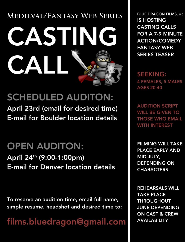 casting call in Boulder for web series
