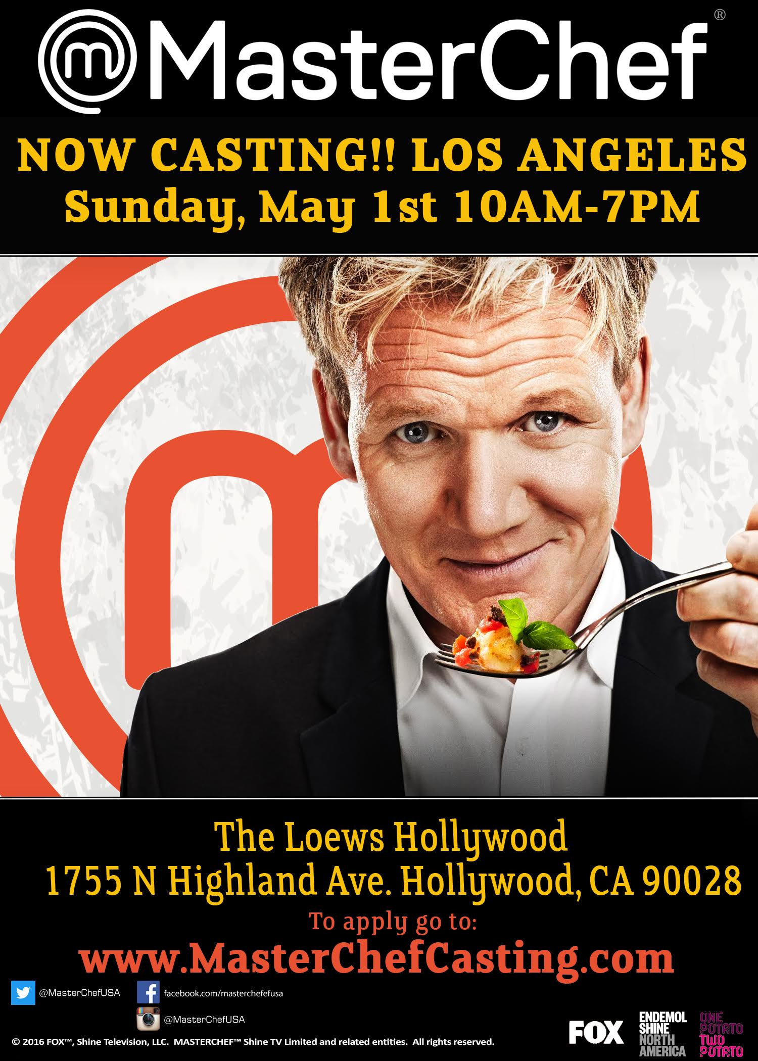 fox's masterchef is on a national talent search and holding open