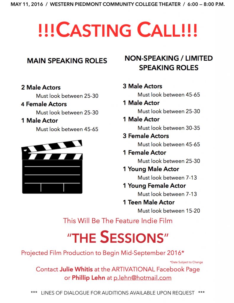 speaking roles in indie film