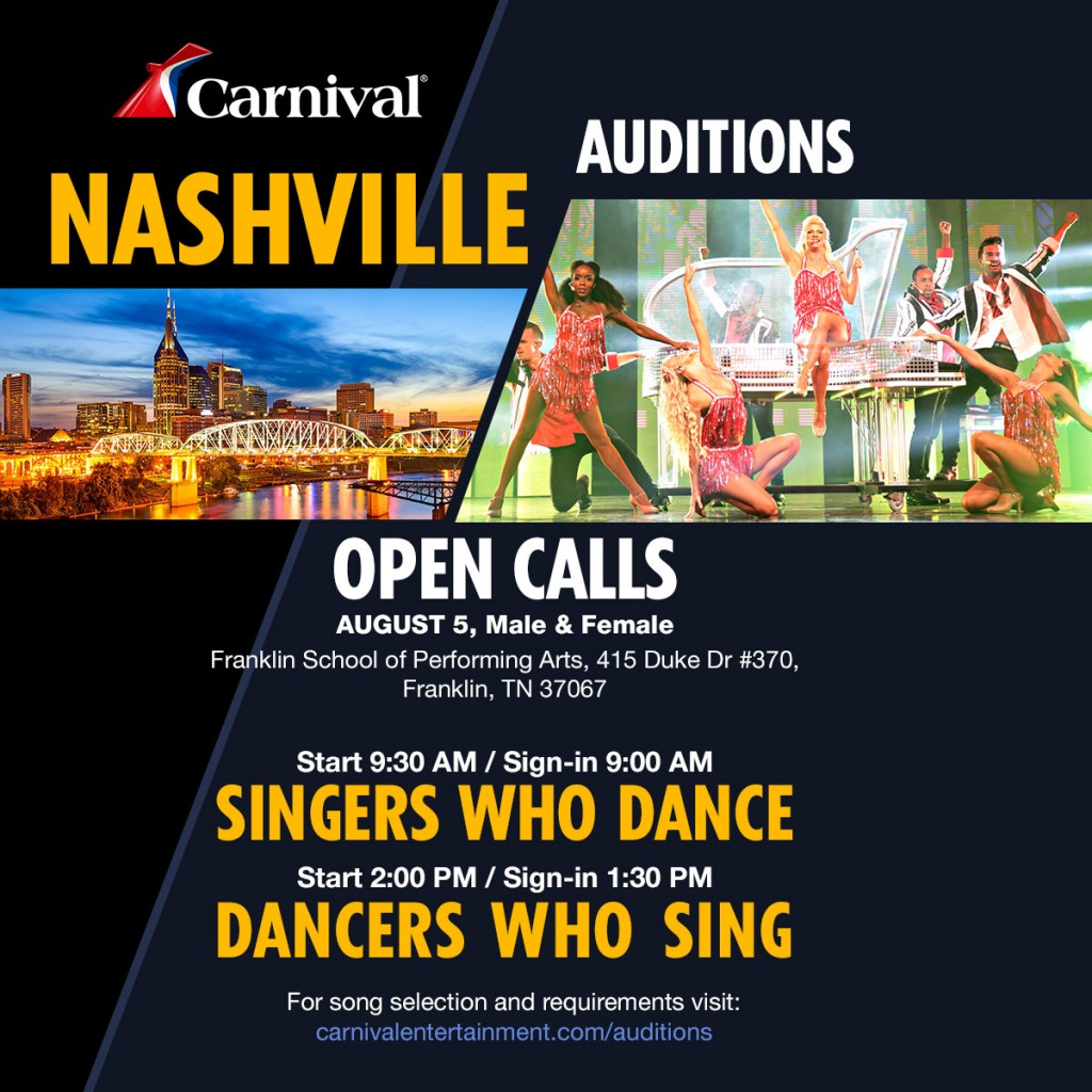 Carnival Cruises Holding Open Auditions For Singers And
