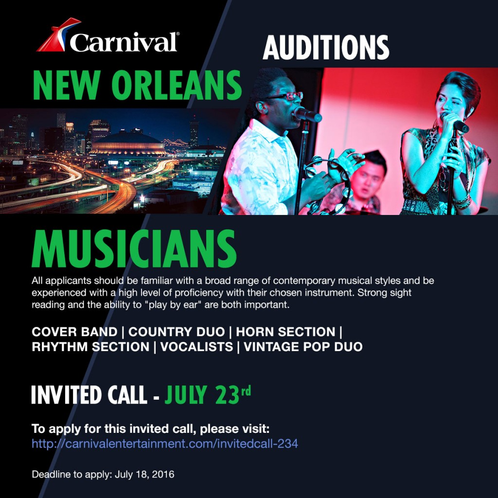 Carnival New Orleans cast call