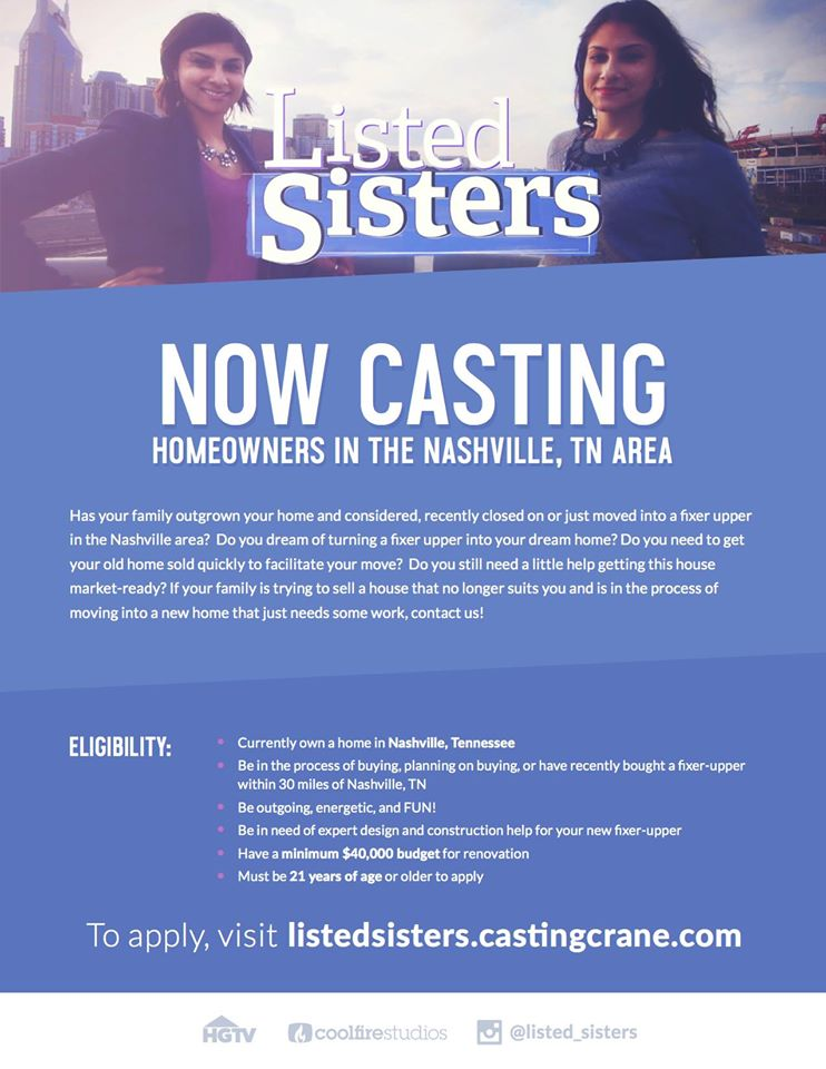 casting call in nashville for hgtv 39 s listed sisters