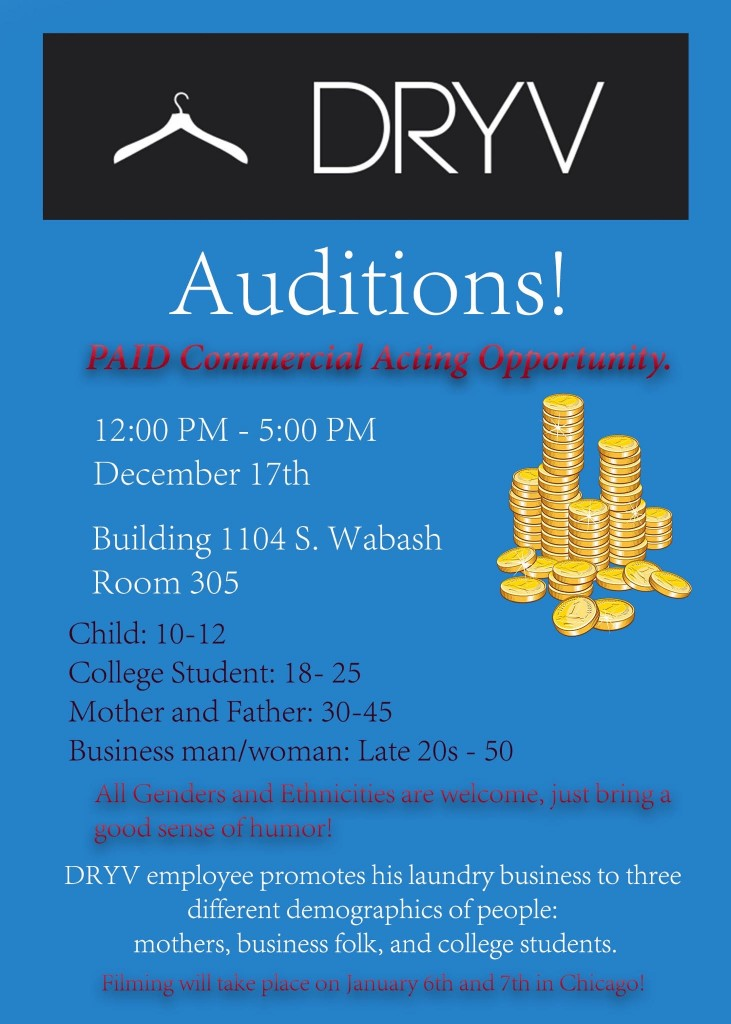 Dryv TV commercial cast call