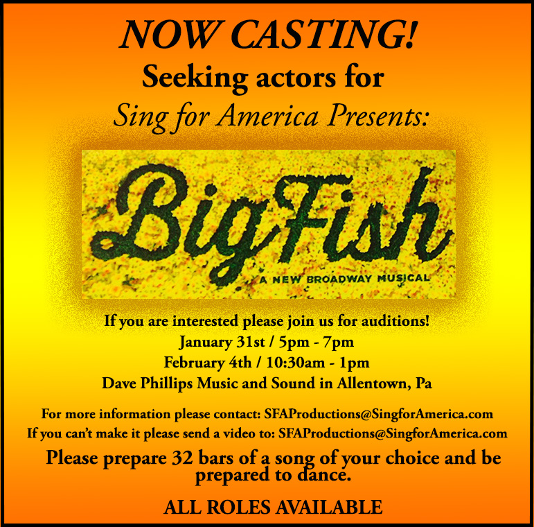 Big Fish Musical Theater Auditions in Allentown PA