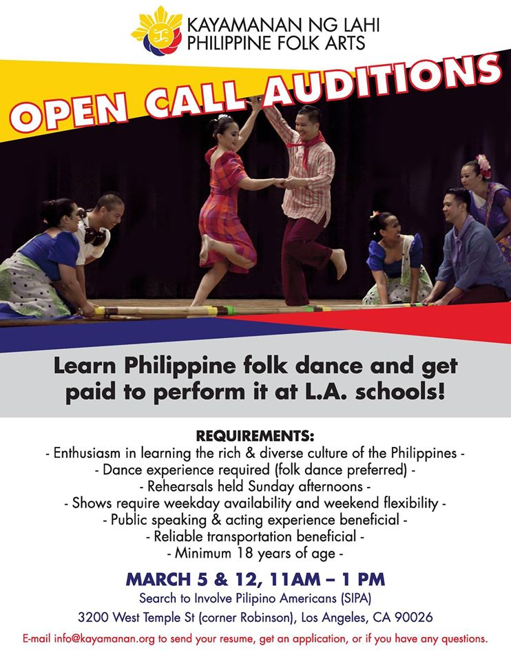 folk dancer open call in Los Angeles