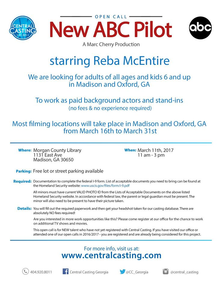 Casting Call in GA for New TV Pilot Starring Reba McEntire