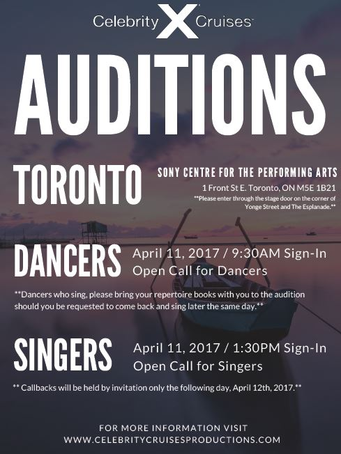 Cruise line auditions in Toronto