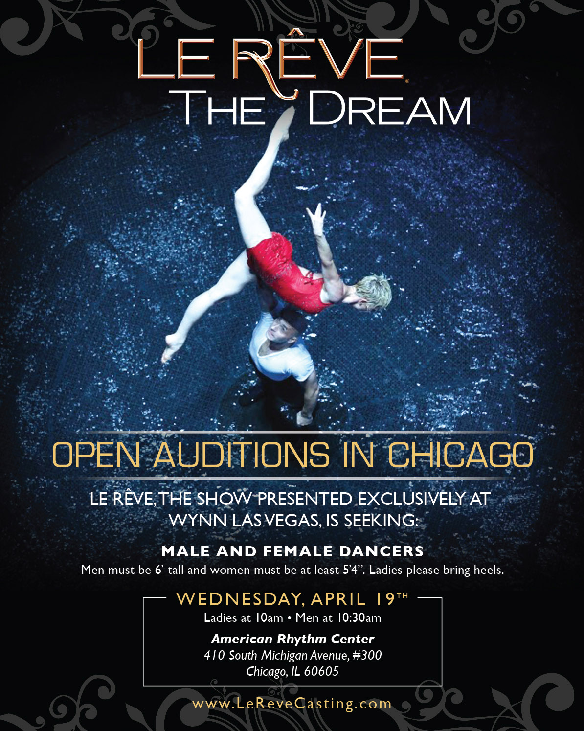 Open Dancer Auditions In Chicago For Las Vegas Show Le Reve The