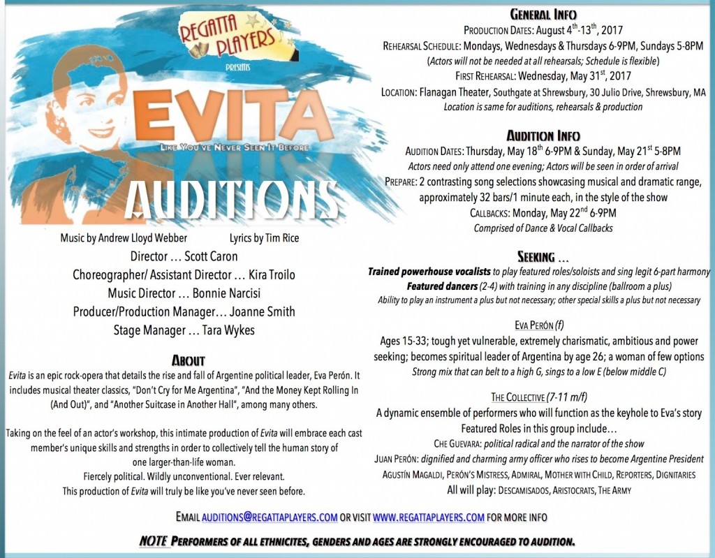 Evita auditions in MA