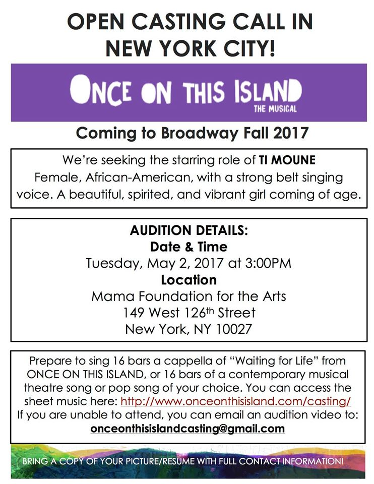 singer and Broadway auditions coming to NYC and ATL