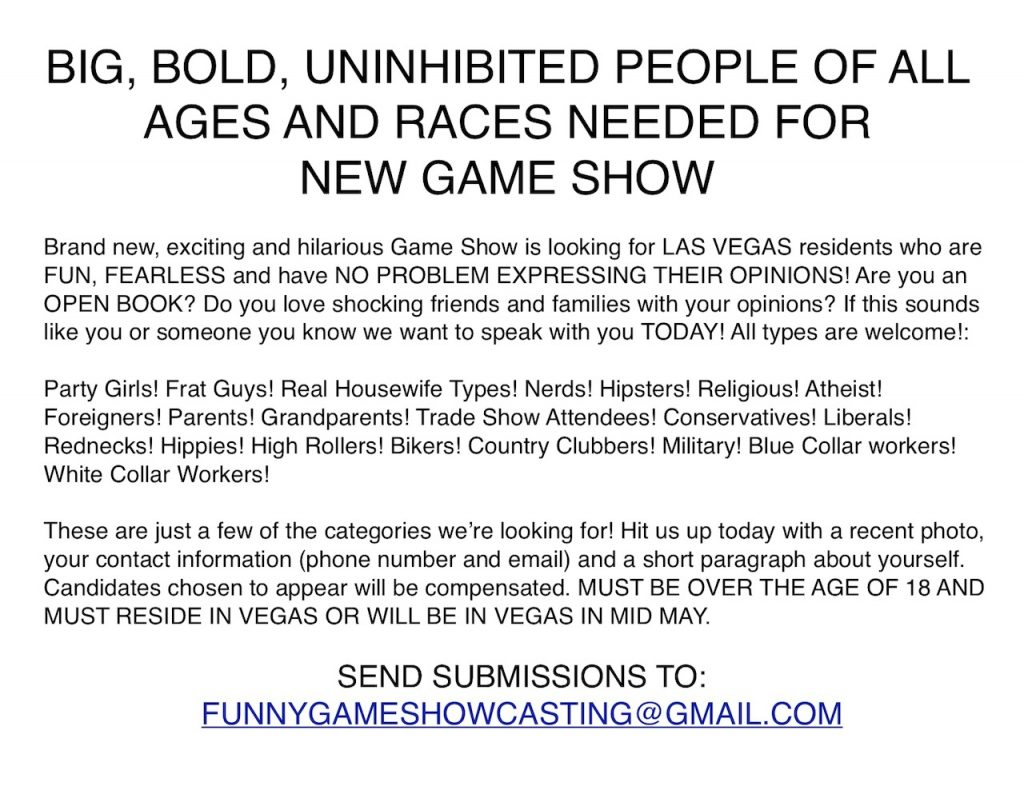 Las Vegas Game Show tryouts