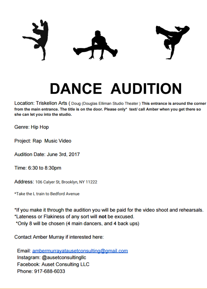 rap and hip hop dancer auditions in NYC