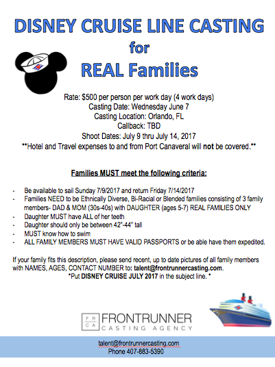 kids and family Disney audition