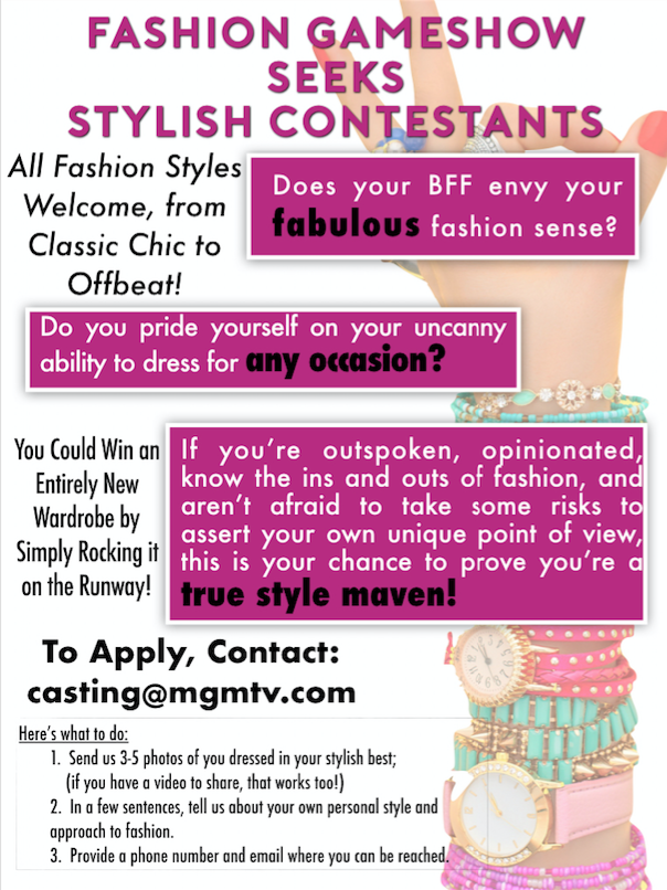 Fashion tv game show casting stylish contestants in los angeles in a fun stylish game show all fashion styles welcome from classic chic to offbeat you could win an entirely new wardrobe by simply rocking it all solutioingenieria Images