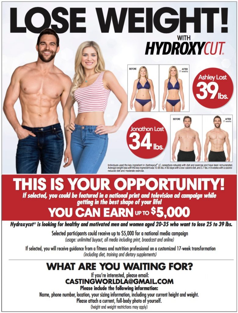 Los Angeles Commercial Casting Call for Hydroxycut TV