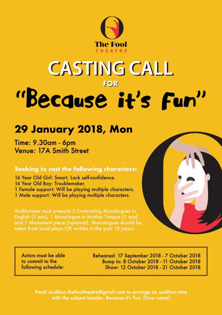 Theater Casting Call in Singapore for Stage Play | Auditions