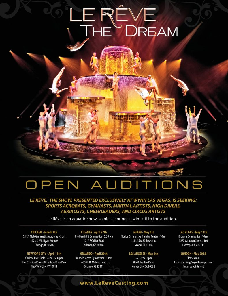 Auditions in US Cities Coast To Coast for Performers for Le Reve ...