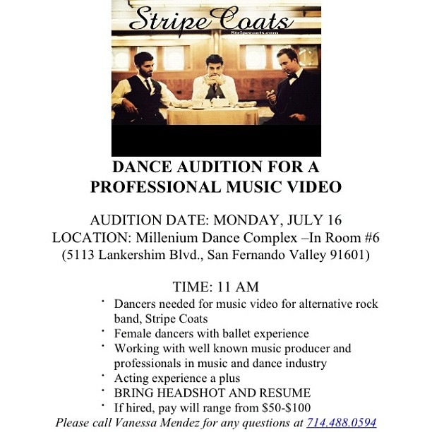 dancers needed for music video  u2013 l a