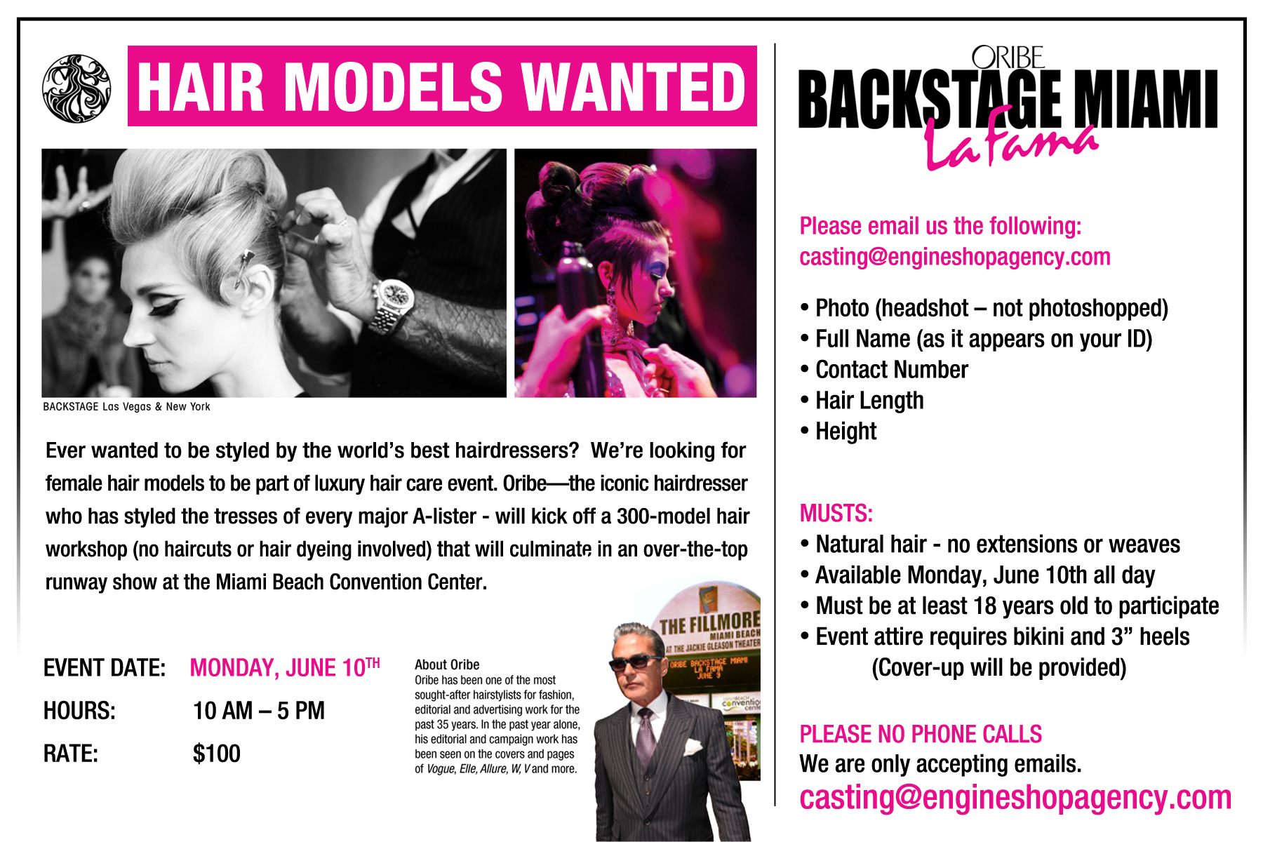 Hair model auditions – Miami Beach FL   Auditions Free